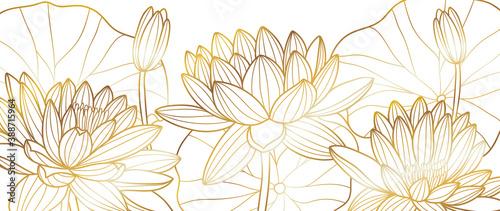 Fototapeta Golden lotus line arts on dark background, Luxury gold wallpaper design for prints, banner, fabric, poster, cover, digital arts vector illustration.. obraz