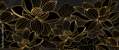 Obraz Golden lotus line arts on dark background, Luxury gold wallpaper design for prints, banner, fabric, poster, cover, digital arts vector illustration.. - fototapety do salonu