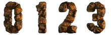 Set Of Rocky Numbers 0, 1, 2, 3. Font Of Stone On White Background. 3d