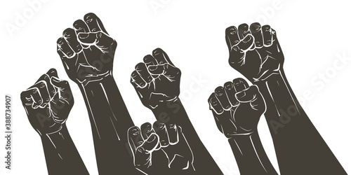 Fotografia Vector Hand raised air fighting for human rights
