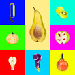 Leinwandbild Motiv Mood. Concept of alternative look of usual things. Bright artworks on multicolored backgrounds. Negative space to insert your text. Modern design. Contemporary colorful and bright art collage.