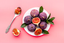 Fresh Whole And Sliced Figs On...