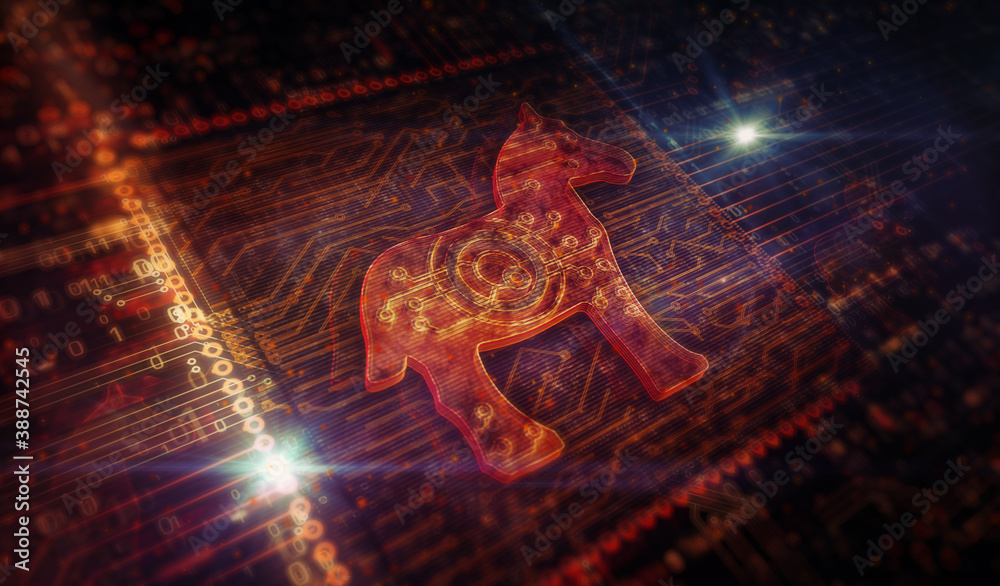 Fototapeta Cyber attack with Trojan symbol digital 3d illustration