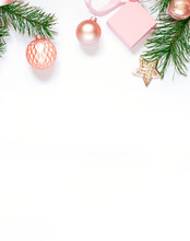 Christmas Or New Year Concept Frame With Winter Holiday Decoration. Greeting Card Top View. Copy Space