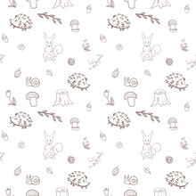 Seamless Pattern With Squirrel...