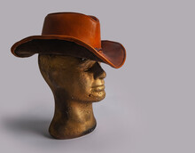Gold Color Mannequin With Cowboy Hat