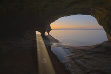 Landscape Of The Interior Of A Sea Cave With Sunbeams, Paradise Point, Lake Superior, Michigan's Upper Peninsula, USA
