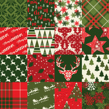 Christmas Clip Art Elements Patchwork Wallpaper Abstract Vector Seamless Pattern