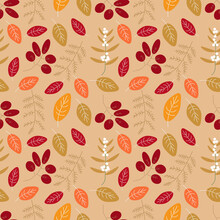 Colourfull Autumn Leaves Seamless Pattern.Great For Textile,wrapping Paper,scrabooking,fabric,ceramic Motifs.