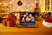 Laptop Computer With Happy Fam...