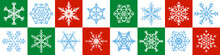 Snowflakes Pattern - Red, Green, White Christmas Background - Seamless Extendable Horizontal Vector Illustration.