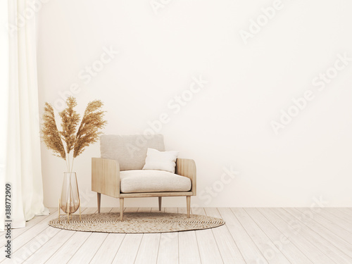 Fototapeta Living room interior wall mockup in warm tones with beige linen armchair, dried Pampas grass and woven rug. Boho style decoration on empty wall background. 3D rendering, illustration. obraz