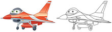 Coloring Page With General Dynamics F-16 Fighting Falcon. Line Art Drawing For Kids Activity Coloring Book. Colorful Clip Art. Vector Illustration.