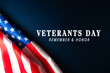 Veterans day. Honoring all who served. American flag on wooden background.