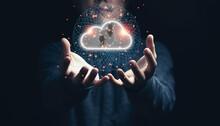 Man Holding Virtual Cloud Comp...