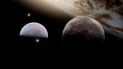 beautiful alien planet in far space, realistic exoplanet, planet suitable for colonization, planet similar to Earth, detailed planet surface 3D render