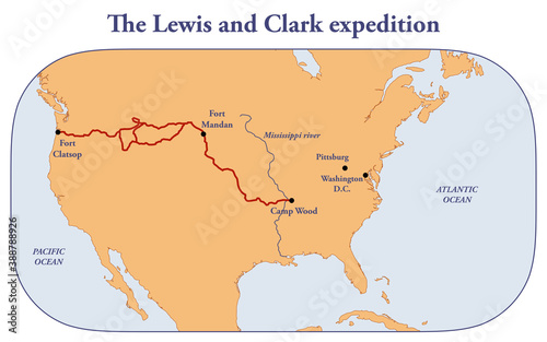 Valokuvatapetti The route of Lewis and Clark  expedition