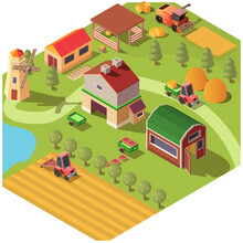 Isometric Farm Or Ranch Yard W...