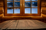 Fototapeta Kawa jest smaczna - Wooden table of free space and winter window