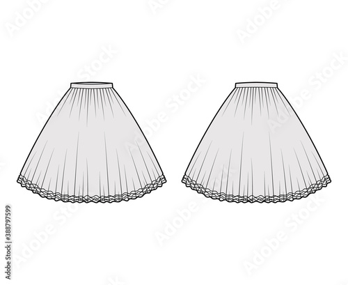 Fotomural Skirt tutu crinoline technical fashion illustration with knee silhouette, circular fullness, thin waistband
