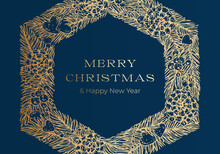 Christmas Greetings Vector Banner Or Cover Blue Background Template. Winter Holiday Symbol Doodle Pine Branches Decorative Stripes Sketch Background. New Year Label Or Card Design With Golden Glitter