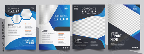 Obraz Brochure design, cover modern layout, annual report, poster, flyer in A4 with blue triangles - fototapety do salonu