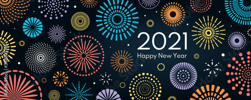 Fototapeta Colorful fireworks 2021 New Year vector illustration, bright on dark blue background, text Happy New Year