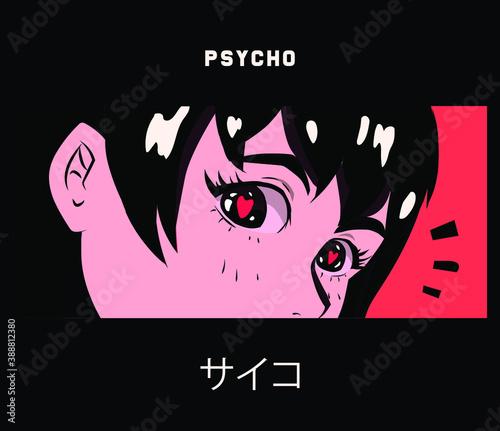 Fotografie, Obraz Pop art kawaii anime girl with big shiny eyes