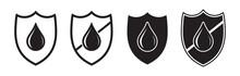 Waterproof Icon, Drop And Shield, Water Proof Resistant Vector Logo. Impermeable Hydrophobic Absorption, Waterproof Fabric Liquid Rainproof Symbol