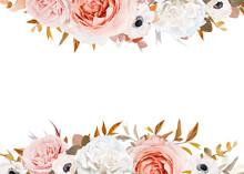Wedding Invite, Floral Greeting Card, Banner Copy Space Design. Elegant Blush Peach, Pink Rose Flower, Ivory White Anemone, Brown, Orange Red Eucalyptus Leaves Bouquet Wreath Stylish Art Border, Frame