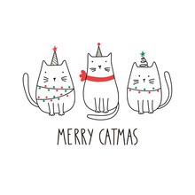 Funny Merry Christmas Cats With Lettering - Merry Catmas. Doodle Cartoon Style. Vector Christmas Illustration. Holiday Poster With  Cartoon Character.
