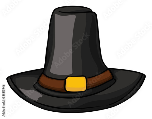 Obraz na plátně Traditional Pilgrim Hat with Band and Buckle in Cartoon Style, Vector Illustrati