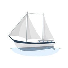 Sea Sailboats Ship Of Water Carriage And Maritime Transport In Modern Flat Design Style. Sailing Yacht On The Sea Waves