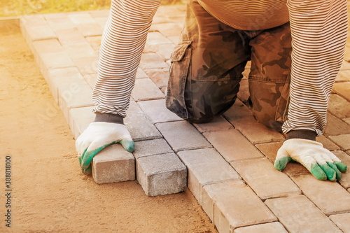 man in gloves lays paving stones in layers on garden pathway Canvas Print