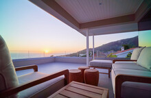 Scenic Sunset Ocean View From Luxury Home Showcase Balcony