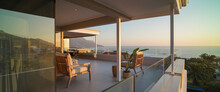 Luxury Home Showcase Exterior Patio With Sunset Ocean View