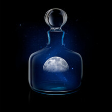 Mysterious Moon In Glass Decanter Against Night Sky