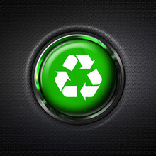 Close Up Green Recycle Symbol Button