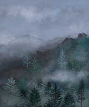 Rainy Pine Forest In The Fog. Hand Drawn Watercolor Foggy Forest And Mountains. Scenic Landscape.Trendy Misty Nature Canvas, Poster, Background. Silhouette Of Forest.  Treveler Design. Rainy Weather.