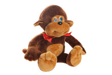 Small Funny Toy Monkey Isolated At White Background. Stuffed Puppet Animal.