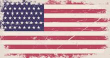 Vintage Flag Of USA. United States Of America