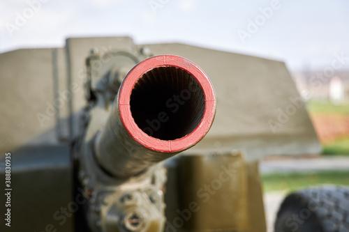 Photo A closeup of the muzzle of a cannon