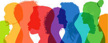Group Diversity Silhouette Multiethnic People From The Side. Community Of Colleagues Or Collaborators. Concept Of Bargain Agreement Or Pact. Collaborate. Co-workers. Harmony. Organization