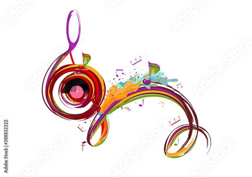 Fotografia Abstract musical design with a treble clef and colorful splashes, notes and waves