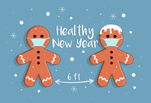 Gingerbread Men Wishes Merry Christmas And Healthy New Year