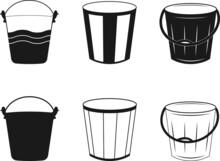 Bucket, Bucket Symbol Icon Design. Bucket Icon Set. Black Vector Illustration On White Background. Bucket Illustration, Drawing, Engraving, Bucket Icon