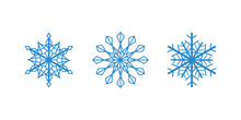 Vector Blue Snowflakes On The Whitebackground. Isolated Outline Flakes Set. Line Art Collection For Winter Decor.