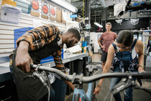 Bike Shop Mechanics Repairing ...