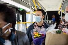 Male Passenger In Face Mask Wi...