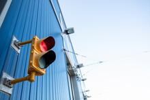Traffic Signal Light On Railyard Building